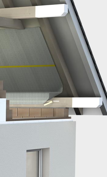 Pitched roof from the inside